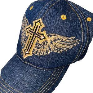 Dark Denim Cross & Wings Embroidered Hat